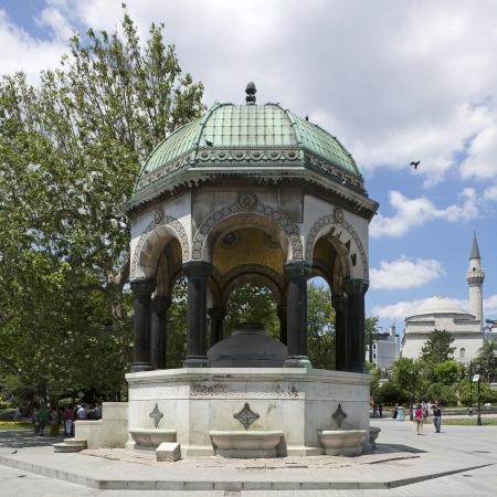 Istanbul, Turkey - June 08, 2012   The German Fountain  Turkish  Alman Aring,  is a gazebo styled fountain in the northern end of old hippodrome  Sultanahmet Square , Istanbul, Turkey