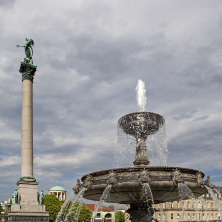atilde: Fountain and Victory Column at Square Schlossplatz, Stuttgart, Germany Editorial