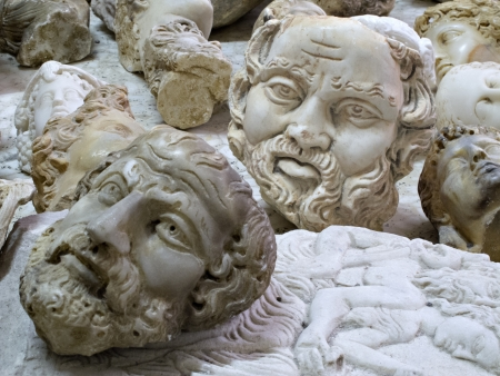 busts: Imitation busts of historic personalities, Antakya, Turkey Editorial