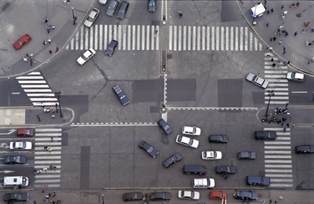 Road Intersection in Paris, France photo