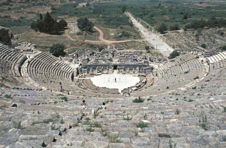 Mostra del Teatro e Horbour strada, Efeso, Izmir, Turchia