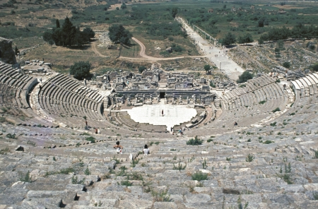 View of Theatre and Horbour street, Ephesus, Izmir, Turkey