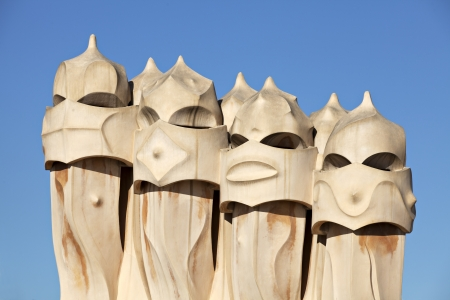 Chimneys of Casa Mila, the famous building designed by the architect Gaudi  One of the most popular touristic attractions of Barcelona