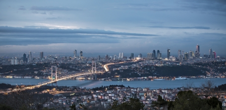 istanbul night: Bosphorus and bridge at night, Istanbul, Turkey