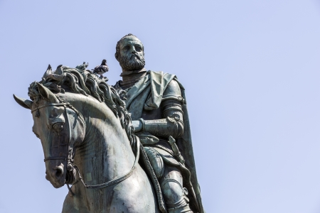 florence italy: Equestrian Statue of Cosimo I by Giambologna, in Florence, Italy
