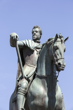 mannerism: Ferdinando I de Medici Bronze Statue in Firenze, Italy Editorial