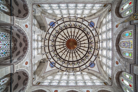 Chandelier and dome of Mihrimah Sultan Mosque, Edirnekapi, Istanbul, Turkey Editorial