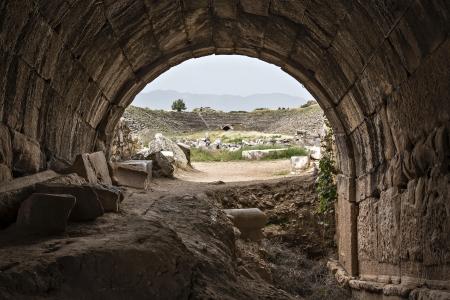 Vista allo stadio dal tunnel in Afrodisia, Aydin