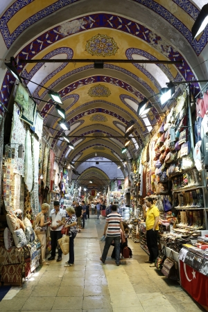 fatih: ISTANBUL - TURKEY, MAY 24  People and tourists visit and shopping in Spice bazaar on May 24, 2013  Spirce Bazaar is in Fatih district of Istanbul, Turkey  It is asian style market and atracts visiters