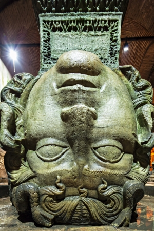 Medusa haed in The Basilica Cistern  Istanbul, Turkey