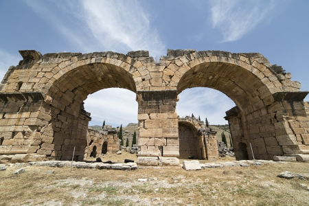 The Basilica Baths in Hierapolis, Denizli, Turkey. Hierapolis was an ancient Greco-Roman city in Phrygia. Stock Photo