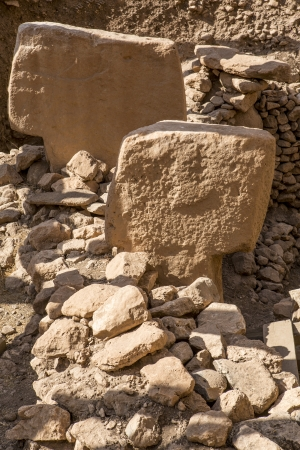 potbelly: Gobekli Tepe Potbelly Hill is an archaeological site  in the Southeastern Anatolia Region of Sanliurfa, Turkey. Gobekli Tepe has been dated to about the close of the 10th millennium BCE. Stock Photo