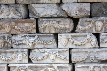 friezes: Friezes on the Portico of Tiberius, depicting various gods, goddesses and portrait heads in Aphrodisias, Aydin, Turkey
