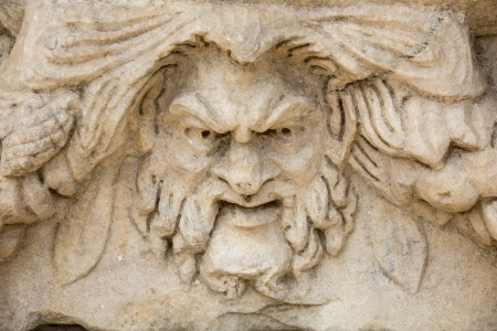 friezes: Head relief on the Portico of Tiberius in Aphrodisias, Aydin, Turkey