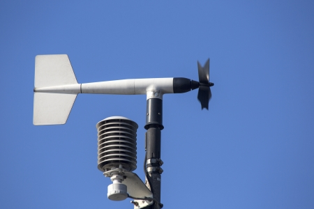 meteorological: Revolving vane anemometer, a meteorological instrument used to measure the wind speed Stock Photo