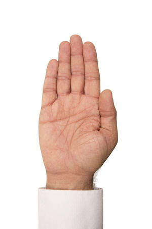 left handed: Palm side of hand on white background.