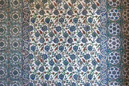 View of wall tiles in Blue Mosque, Istanbull, Turkey