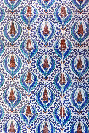 iznik: Macro view of tiles in Rustem Pasa Mosque, Istanbul, Turkey