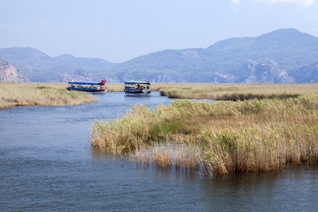 mugla: Boats on Dlayan river, Dalyan, Mugla, Turkey