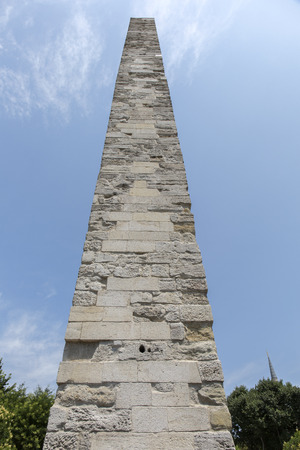 obelisk stone: Walled Obelisk in Sultanahmet square (hippodrome) in Fatih district of Istanbul, Turkey. Stock Photo