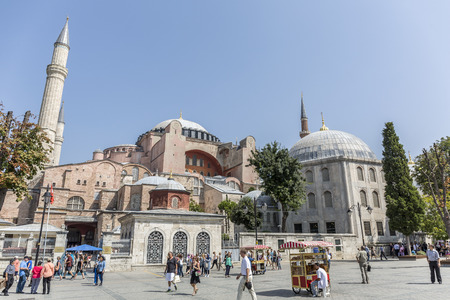 ortodox: Istanbul, Turkey - September 11th 2015: Tourists visits Haghia Sophia in Istanbul on September 11th 2015. Haghia Sophia is one of the most important ortodox chuch of the world.