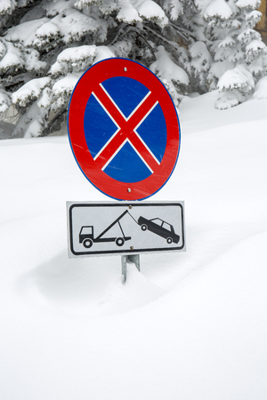 trafic: No parking sign in snow, Uludag, Bursa, Turkey