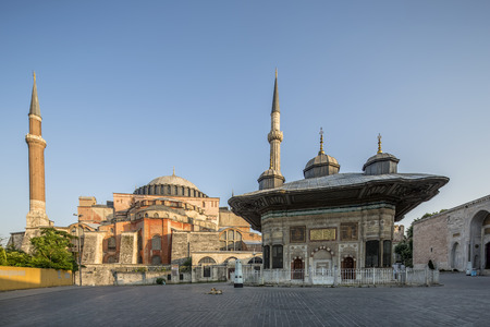 fatih: III. Ahmet Fountain and Haghia Sophia Museum in Fatih district of Istanbul, Turkey.