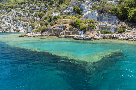 Ancient sunk city in Kekova, Kas, Antalya, Turkey