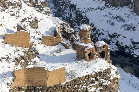 Hripsime (Bakireler) Monestry in Ani is a ruined medieval Armenian city now situated in the Turkeys province of Kars and next to the closed border with Armenia. Ani is a  UNESCO World Heritage Site. Stock Photo