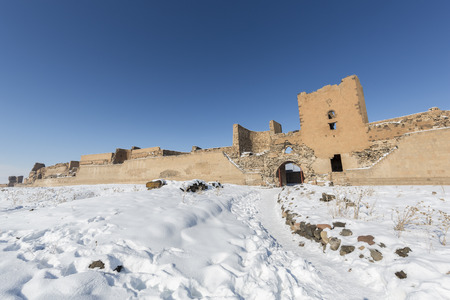 City walls of Ani. Ani is a ruined medieval Armenian city now situated in the Turkeys province of Kars and next to the closed border with Armenia. Ani is a  UNESCO World Heritage Site.