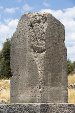 Inscribed Pillar in Xanthos Ancient City, Antalya, Turkey