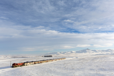 Train and landscape in Kars, Turkey. Stock Photo