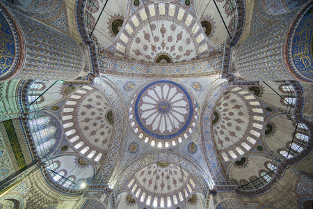 Interior view of Sultanahmet (Blue) Mosque in Fatih, Istanbul, Turkey.