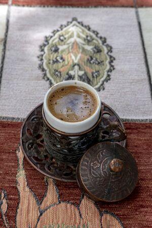 Traditional Turkish coffee on table.