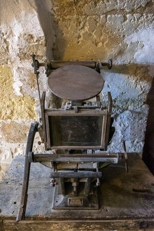Syriac first printing machine in the Ottoman Empire in Deyrulzafaran Monestry of Mardin, Turkey. Stock Photo