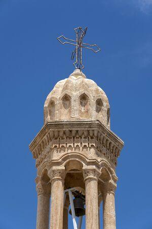 Bell tower of Virgin Mary Monastery in Midyat, Mardin, Turkey Stock Photo