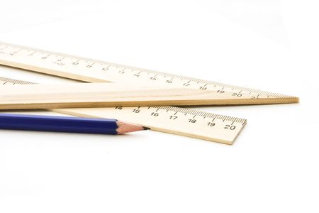 affiliation: Pencil and ruler with a triangle on a white background.  Stock Photo