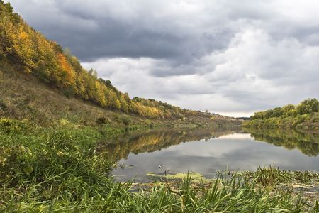 Autumn landscape, views of the river and the forest.  photo
