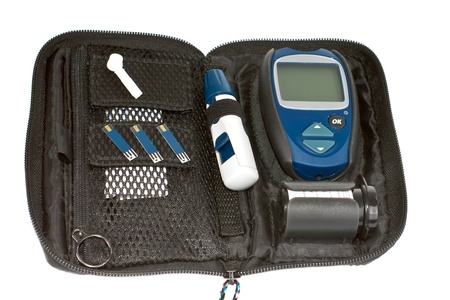 hypoglycaemia: Device for measurement of glucose in the blood  Stock Photo
