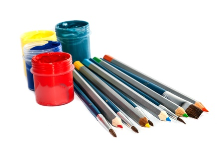 Set for artistic creativity on a white background  photo