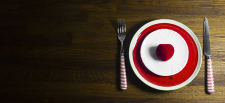 Valentines day dinner with table setting on wooden background with copy space Standard-Bild - 121337042