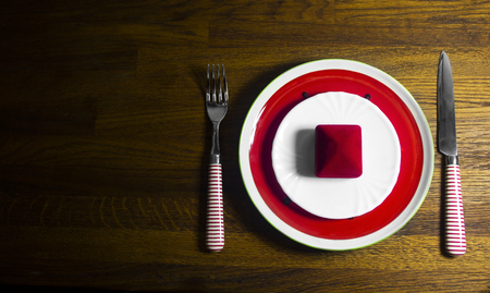 Valentines day dinner with table setting on wooden background with copy space Standard-Bild - 121337043