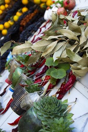 Georgian traditional bazaar plants succulents, herbs, pepper Standard-Bild - 121337404