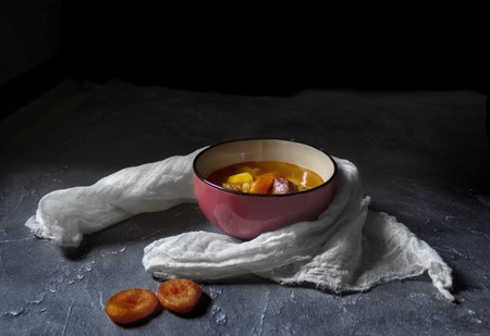 Armenian cuisine. Yajni - beef soup with dried apricot