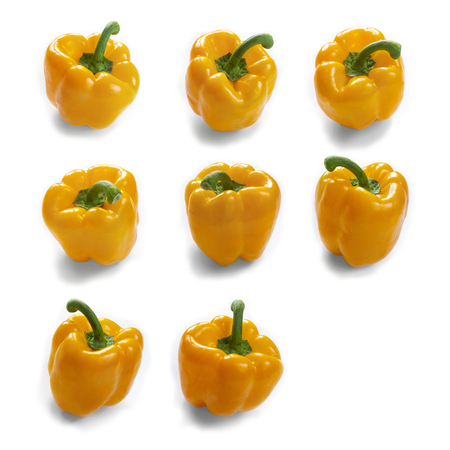 Fresh vegetables yellow sweet peppers isolated on white background Standard-Bild - 121337572