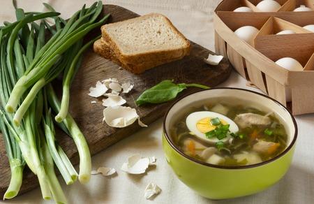 Green sorrel soup with egg. Spring and Summer menu. Healthy food Standard-Bild - 123431233