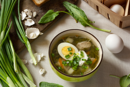 Green sorrel soup with egg and sour cream. Spring and Summer menu. Top view Standard-Bild - 123431236