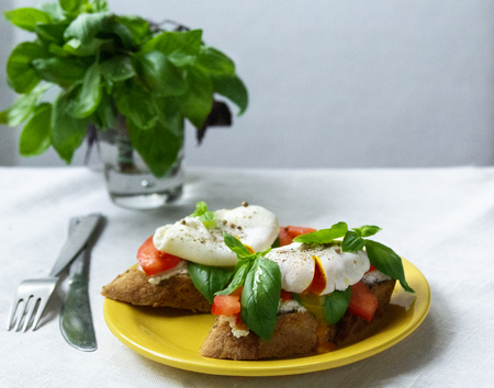 Healthy breakfast sandwiches with basil, tomato and poached egg Standard-Bild - 123431280