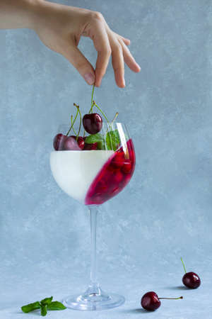 Woman puts cherry into wine glass with dessert. Panna cotta with berries in glass on grey background. Archivio Fotografico