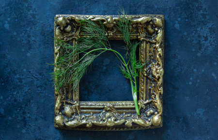 Fresh dill herb in frame on black background.